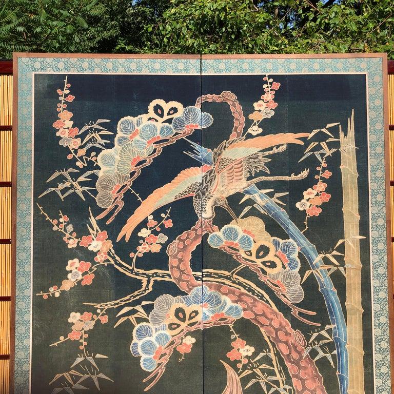Meiji Japanese Antique Two Panel Screen Hand Spun Tsutsugaki Wall Art, 19th Century For Sale