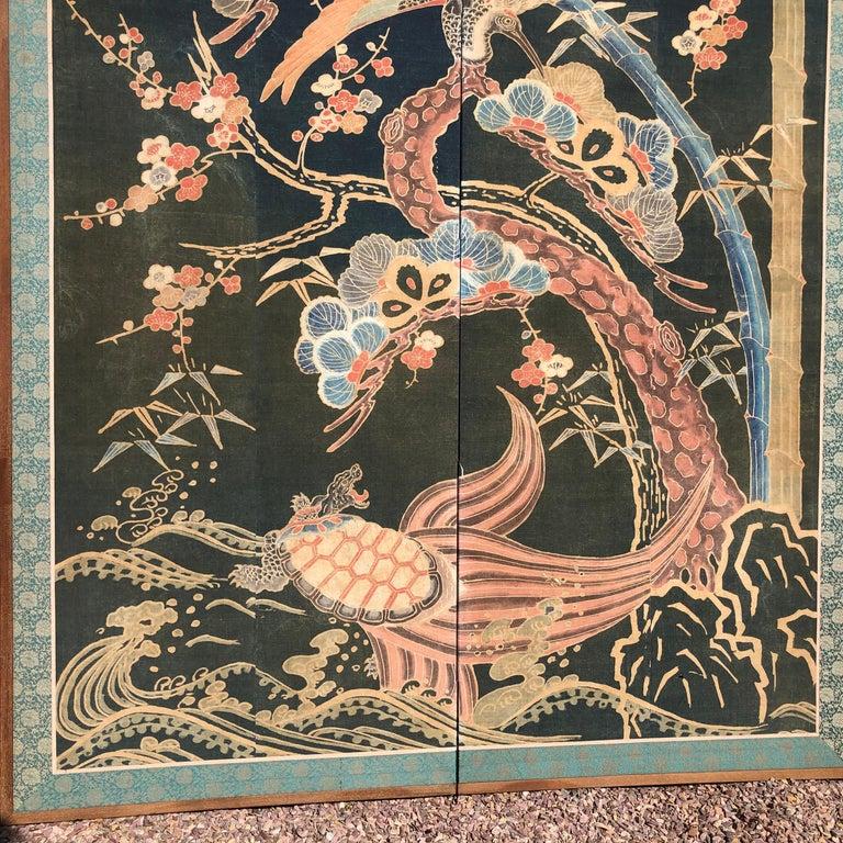 Hand-Woven Japanese Antique Two Panel Screen Hand Spun Tsutsugaki Wall Art, 19th Century For Sale