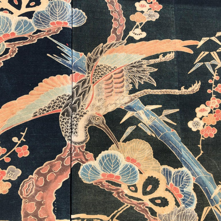 Japanese Antique Two Panel Screen Hand Spun Tsutsugaki Wall Art, 19th Century In Good Condition For Sale In Shelburne, VT