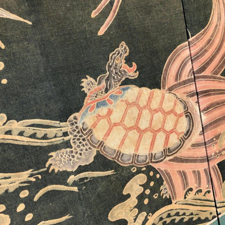 Cotton Japanese Antique Two Panel Screen Hand Spun Tsutsugaki Wall Art, 19th Century For Sale