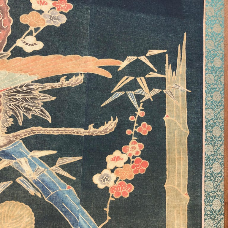Japanese Antique Two Panel Screen Hand Spun Tsutsugaki Wall Art, 19th Century For Sale 1