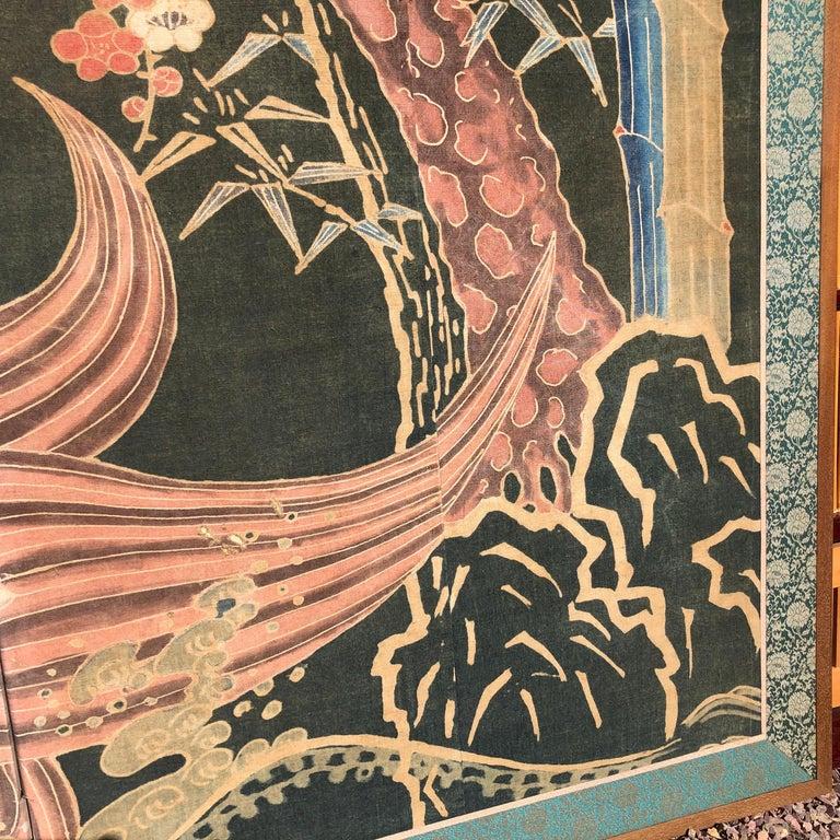 Japanese Antique Two Panel Screen Hand Spun Tsutsugaki Wall Art, 19th Century For Sale 2