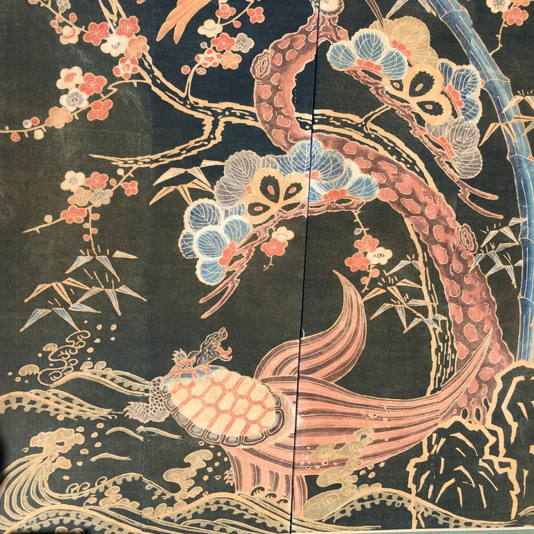 Japanese Antique Two Panel Screen Hand Spun Tsutsugaki Wall Art, 19th Century For Sale 3