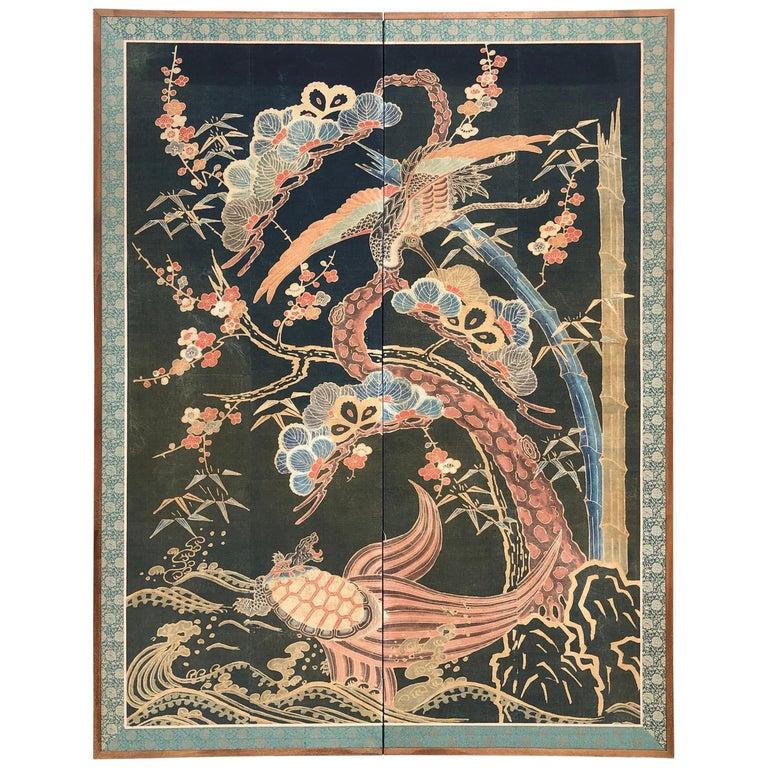 Japanese Antique Two Panel Screen Hand Spun Tsutsugaki Wall Art, 19th Century For Sale