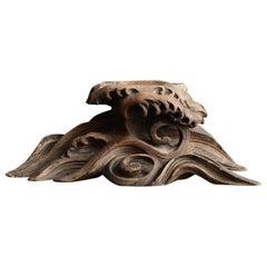 Japanese Antique Wood Carving Wavy Figurine / Incense Burner / Decoration Stand