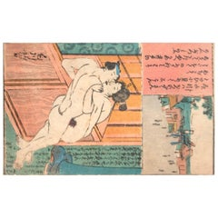 Japanese Antique Woodblock Print Album Erotic Couples Shunga Art, 11 Prints