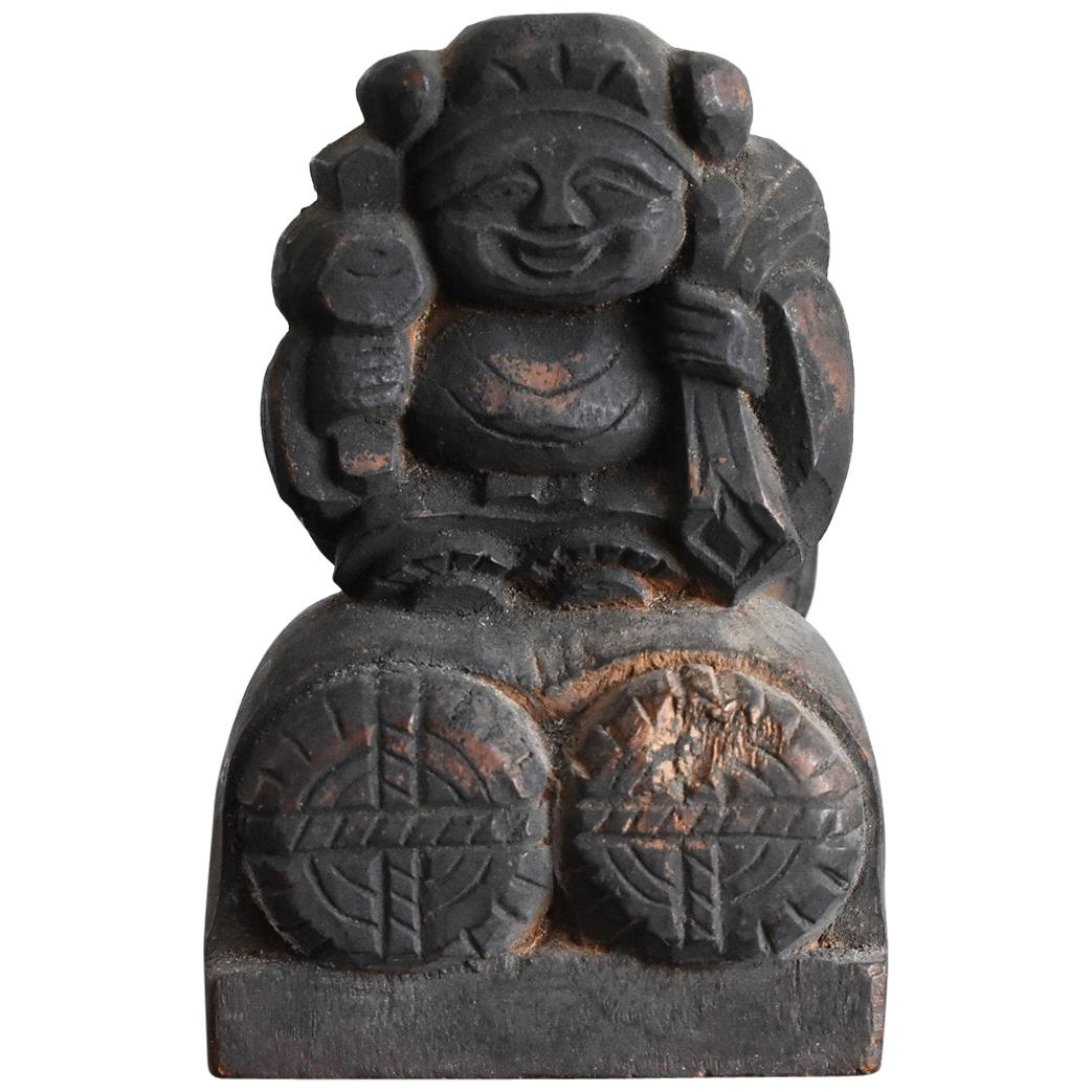 "Japanese Antique Wooden Buddha Statue / ""Daikoku-Ten"" Edo Period-Meiji, 1800s"
