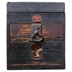 Japanese Antique Wooden Tool Box / Wabi-Sabi Storage Box