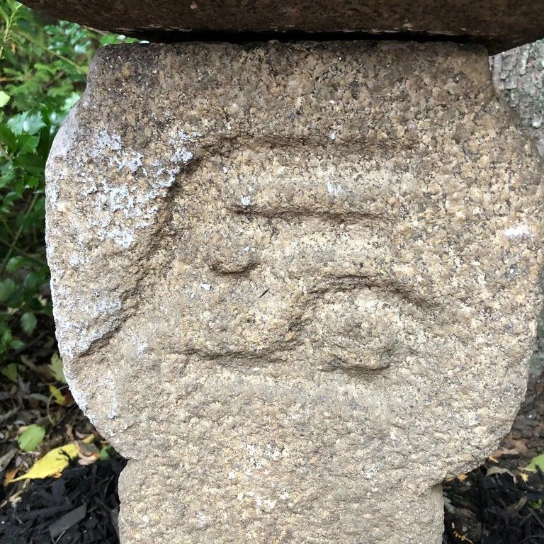 "Japanese Antique ""Oribe Tea Master"" Granite Tea Garden Lantern Hand Carved Stone For Sale 5"