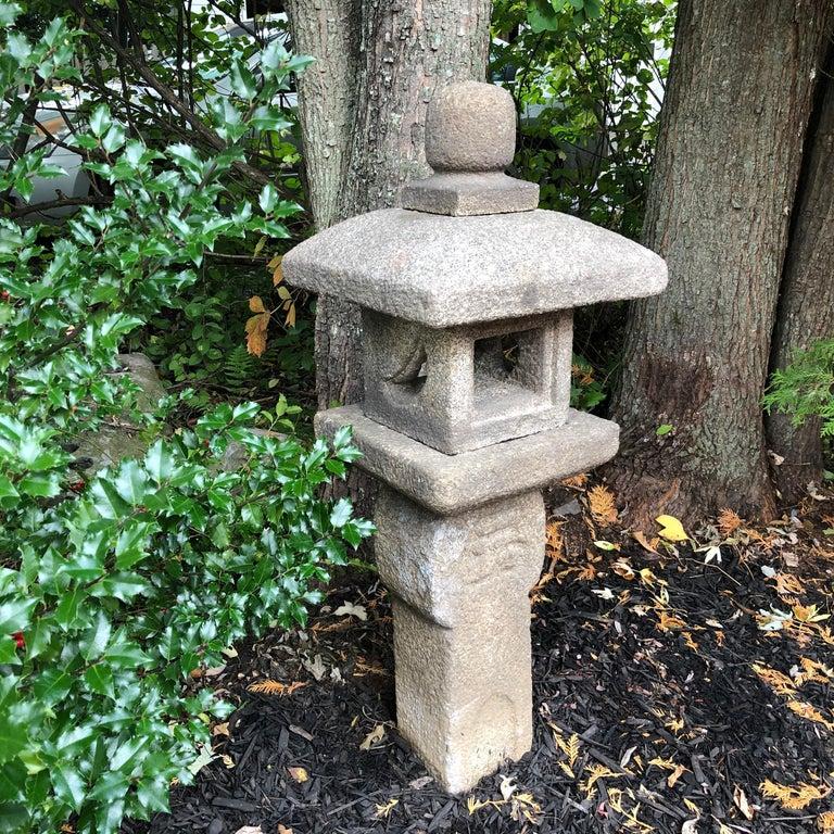 "Hand-Crafted Japanese Antique ""Oribe Tea Master"" Granite Tea Garden Lantern Hand Carved Stone For Sale"