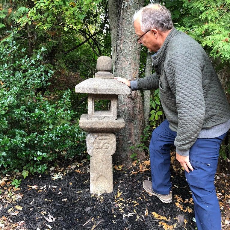 "Japanese Antique ""Oribe Tea Master"" Granite Tea Garden Lantern Hand Carved Stone In Good Condition For Sale In Shelburne, VT"