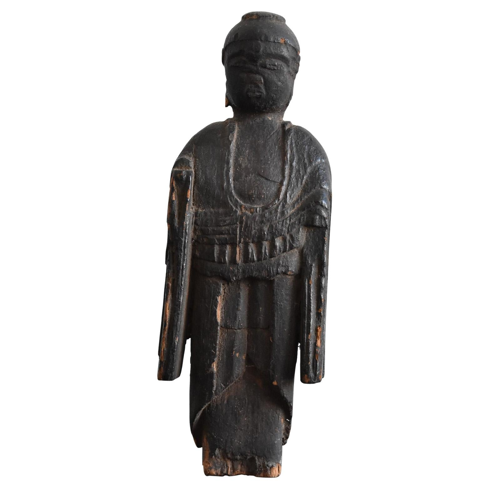 "Japanese Antiques Old Wooden Buddha Statue ""Nyorai"" Late Edo Period 1750-1850"