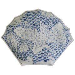Japanese Arita Blue and White Ceramic Map Dish, circa 1840