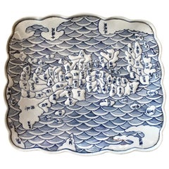 Japanese Arita Blue and White Ceramic Map Plate