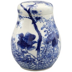 Japanese Arita Blue and White Landscape Porcelain Lidded Tea Caddy