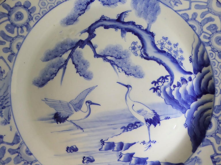 Painted Blue White Japanese Charger with Pair of Cranes and Turtles Meiji Period For Sale