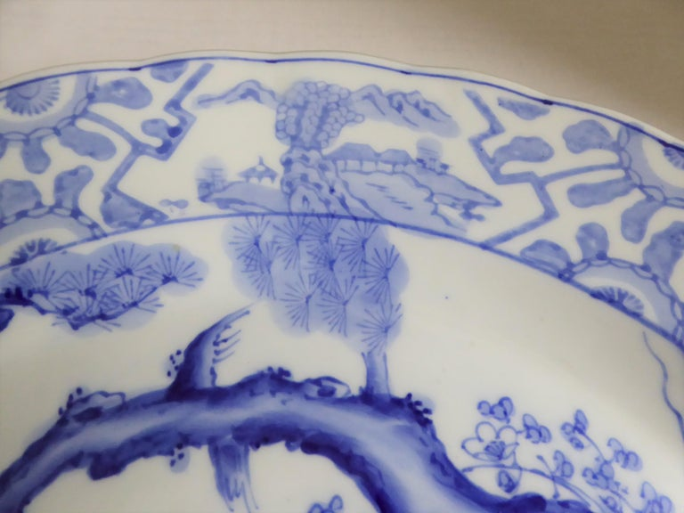 Blue White Japanese Charger with Pair of Cranes and Turtles Meiji Period In Good Condition For Sale In Miami, FL