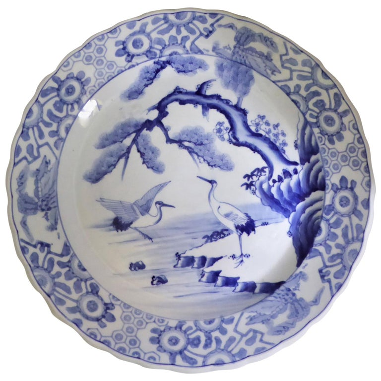 Blue White Japanese Charger with Pair of Cranes and Turtles Meiji Period For Sale