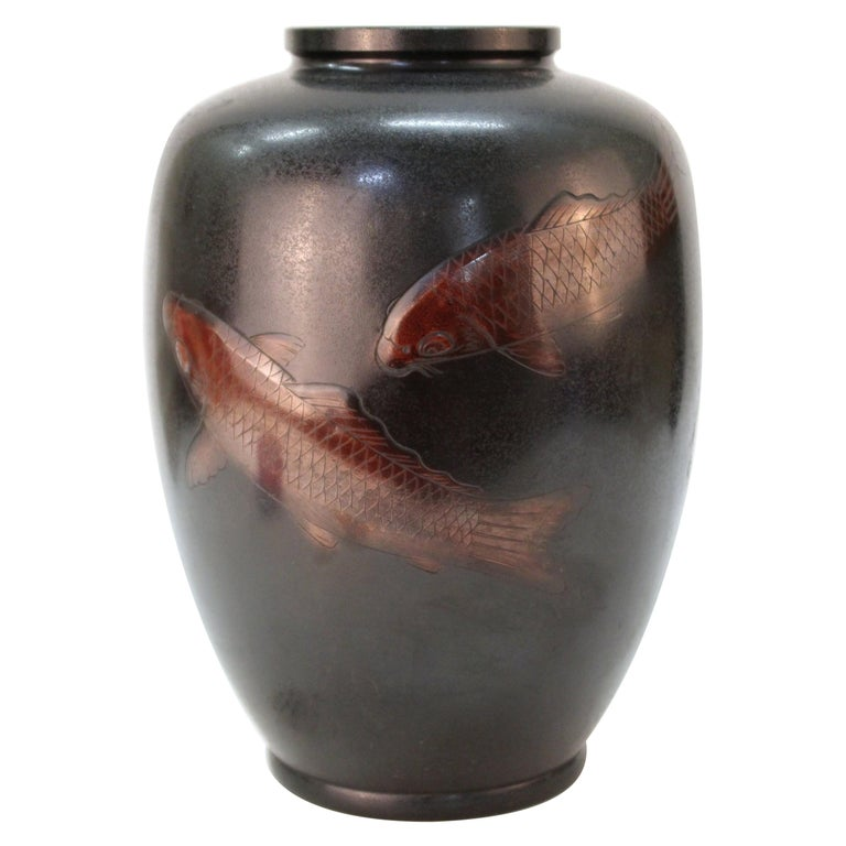 Japanese Art Deco bronze vase with carp motif, 1930s, offered by Showplace Antique + Design Center