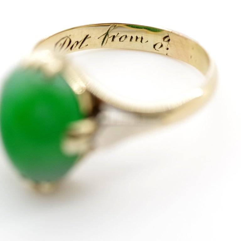 Jade Ring is Exquisite Japanese Art Deco Masterpiece For Sale 9