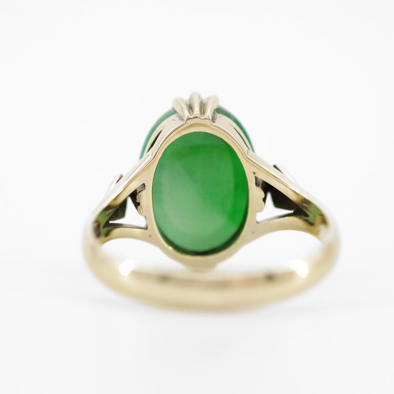 Jade Ring is Exquisite Japanese Art Deco Masterpiece For Sale 11