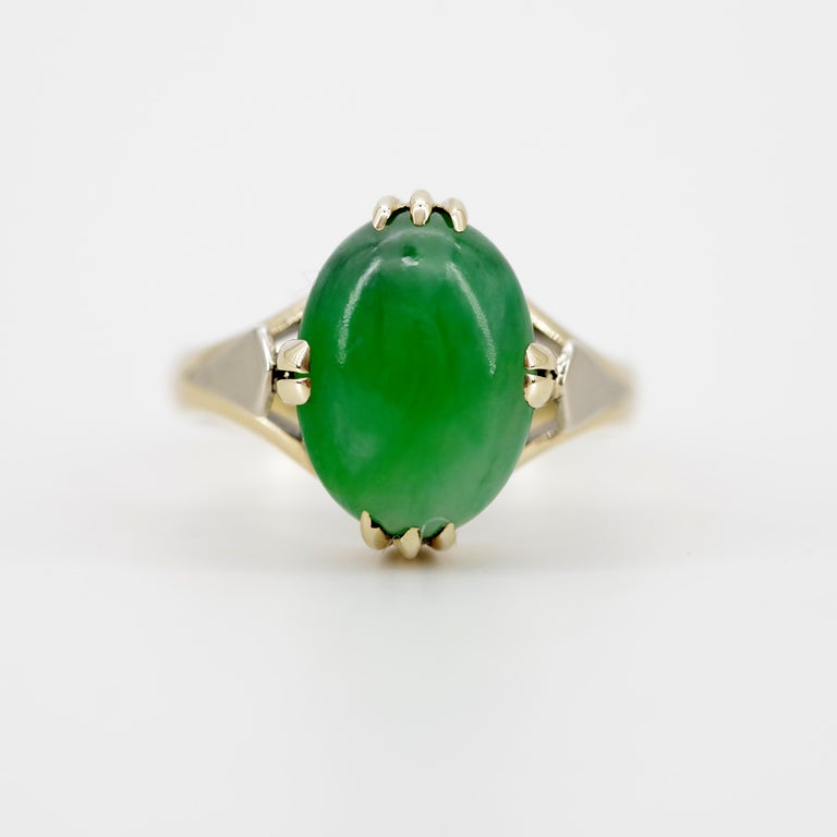 Jade Ring is Exquisite Japanese Art Deco Masterpiece In Good Condition For Sale In Southbury, CT