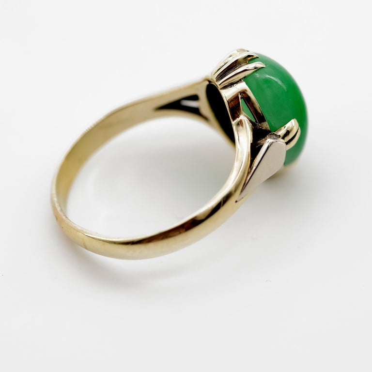 Jade Ring is Exquisite Japanese Art Deco Masterpiece For Sale 6