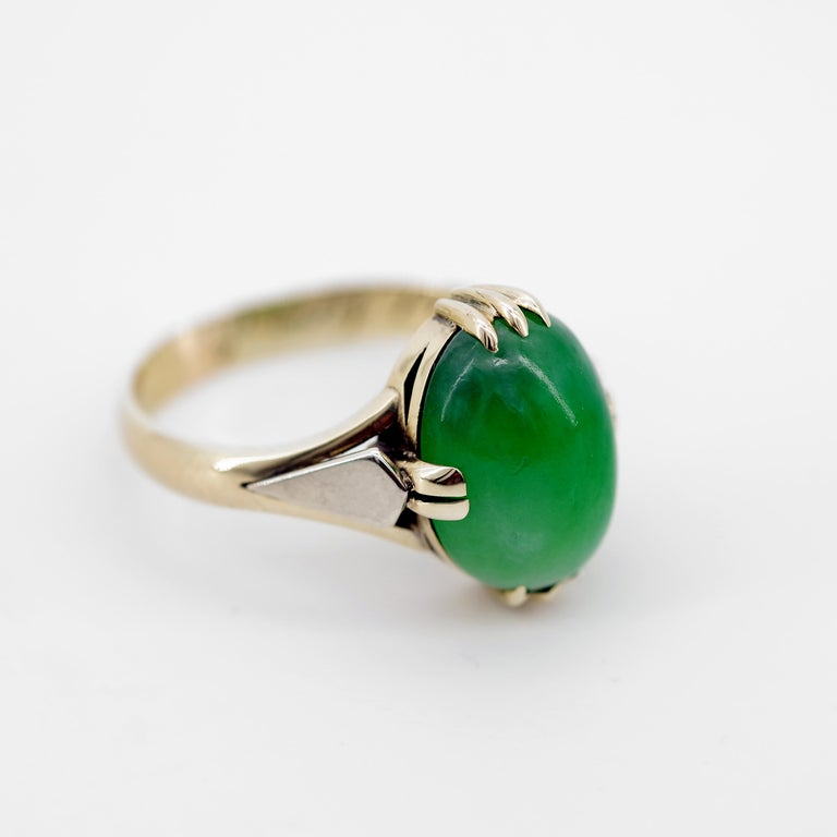 Jade Ring is Exquisite Japanese Art Deco Masterpiece For Sale 7