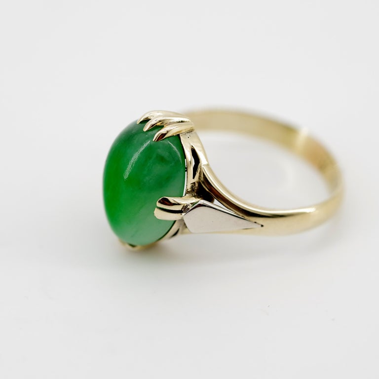 Jade Ring is Exquisite Japanese Art Deco Masterpiece For Sale 8