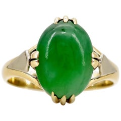 Japanese Art Deco Jadeite Ring Natural and Untreated in Yellow and White Gold