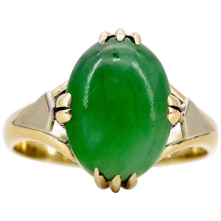 Women's Jade Ring is Exquisite Japanese Art Deco Masterpiece For Sale