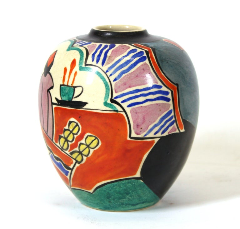 Japanese Art Deco diminutive ceramic vase, hand painted with a modernist scene in Matisse style. Marked 'Made in Japan' on the bottom.