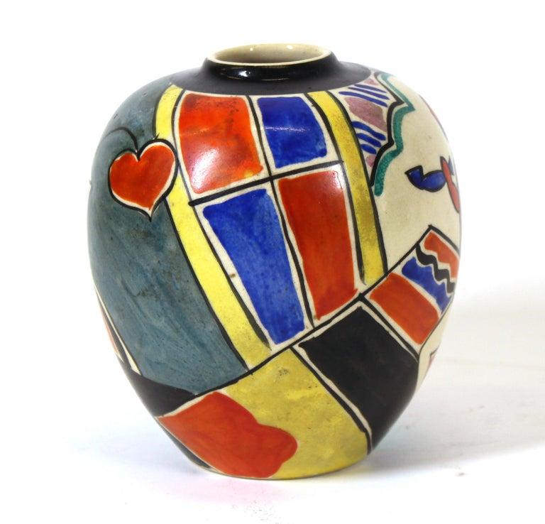 20th Century Japanese Art Deco Painted Ceramic Vase For Sale