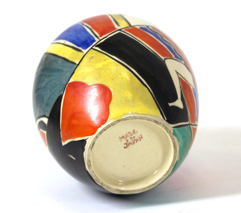 Japanese Art Deco Painted Ceramic Vase For Sale 2