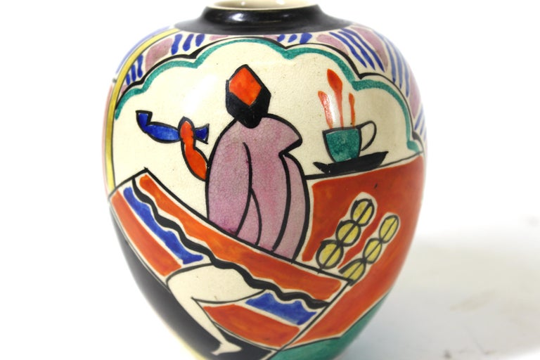 Japanese Art Deco Painted Ceramic Vase For Sale 3