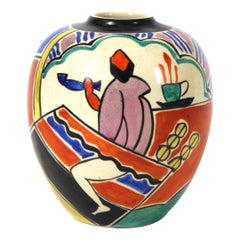 Japanese Art Deco Painted Ceramic Vase