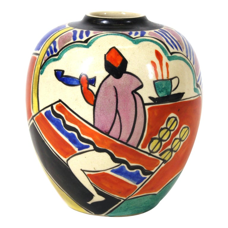 Japanese Art Deco Painted Ceramic Vase For Sale