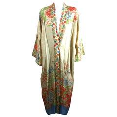 Japanese Art Deco Silk Pongee Lounge Robe