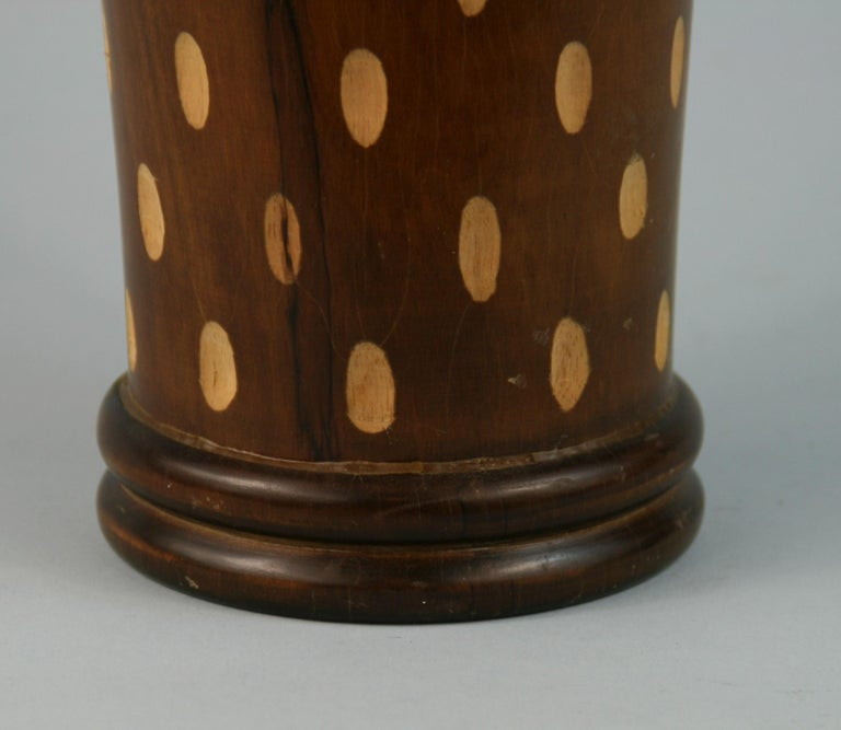Japanese Art Deco Style Wood Hand Turned Vase with Incised Oval Cutouts In Good Condition For Sale In Douglas Manor, NY