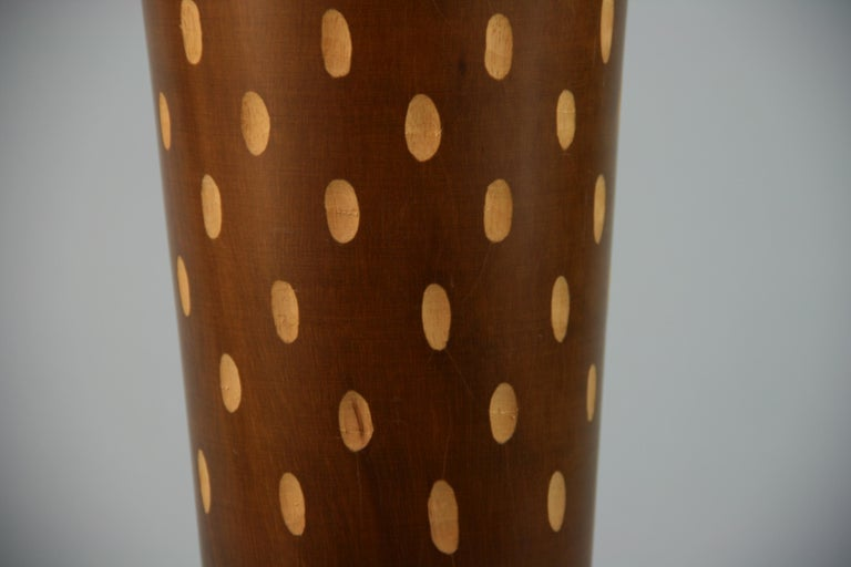 Mid-20th Century Japanese Art Deco Style Wood Hand Turned Vase with Incised Oval Cutouts For Sale