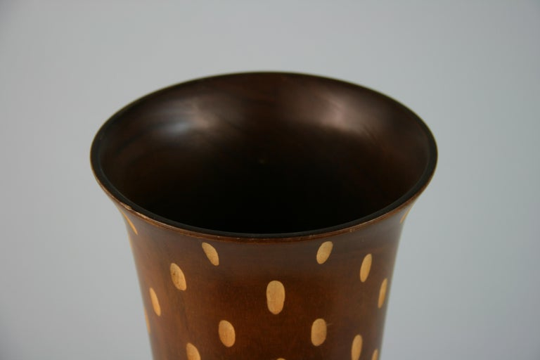 Hardwood Japanese Art Deco Style Wood Hand Turned Vase with Incised Oval Cutouts For Sale