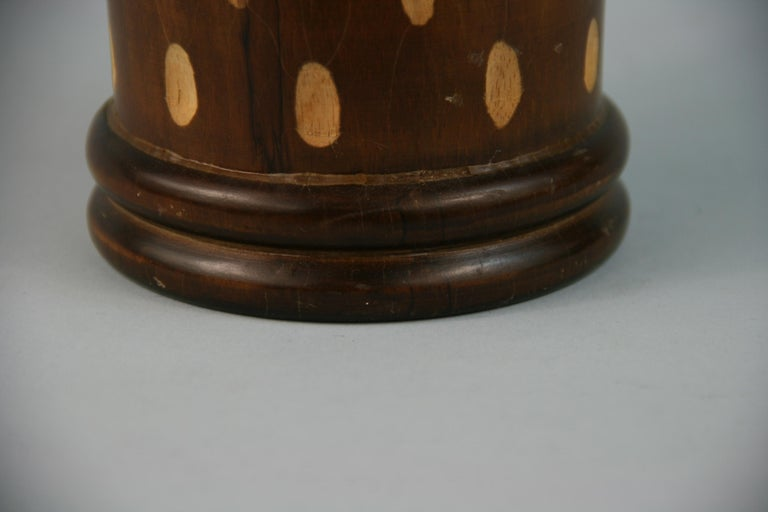 Japanese Art Deco Style Wood Hand Turned Vase with Incised Oval Cutouts For Sale 1