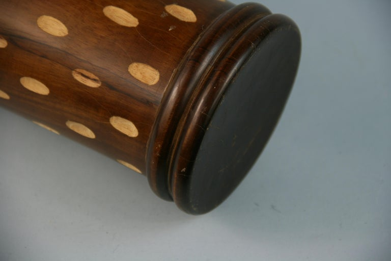 Japanese Art Deco Style Wood Hand Turned Vase with Incised Oval Cutouts For Sale 2