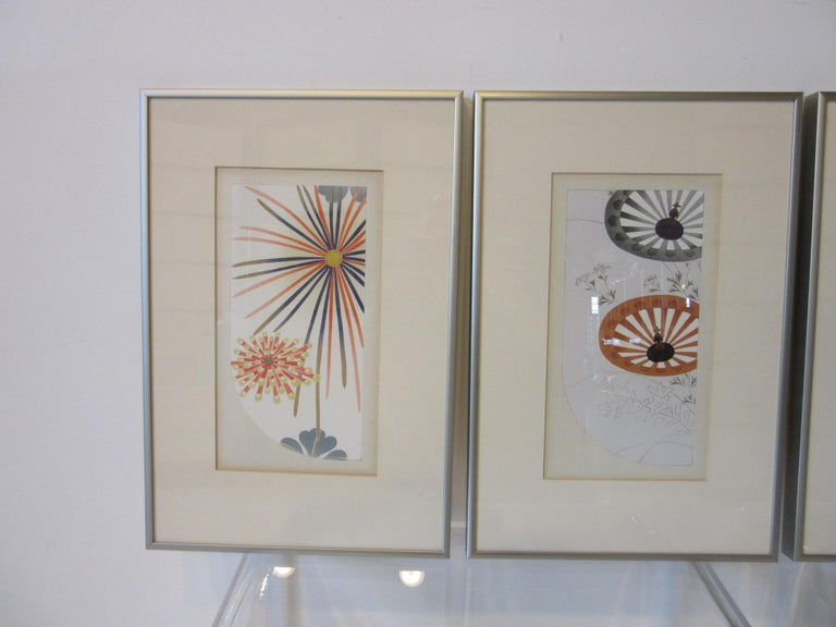 A wonderful collection of four framed hand colored wood block prints with Art Deco influenced styling possibly for a Kimono design. This set of original prints were crafted by Jun Hisatomi and Tamaki Yoshida.
