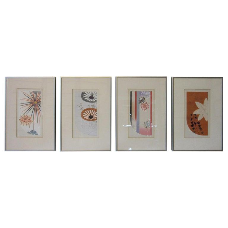 Japanese Art Deco Styled Woodblock Prints by Jun Hisatomi & Tamaki Yoshida For Sale