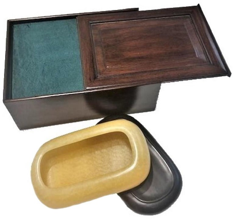 Mid-20th Century Japanese Art Deco, Yellow Stone Vessel in Wood and Silk Presentation Box For Sale