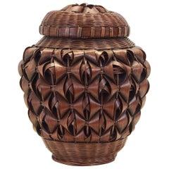 Japanese Art Fine Woven Bamboo Split Basket with Lit