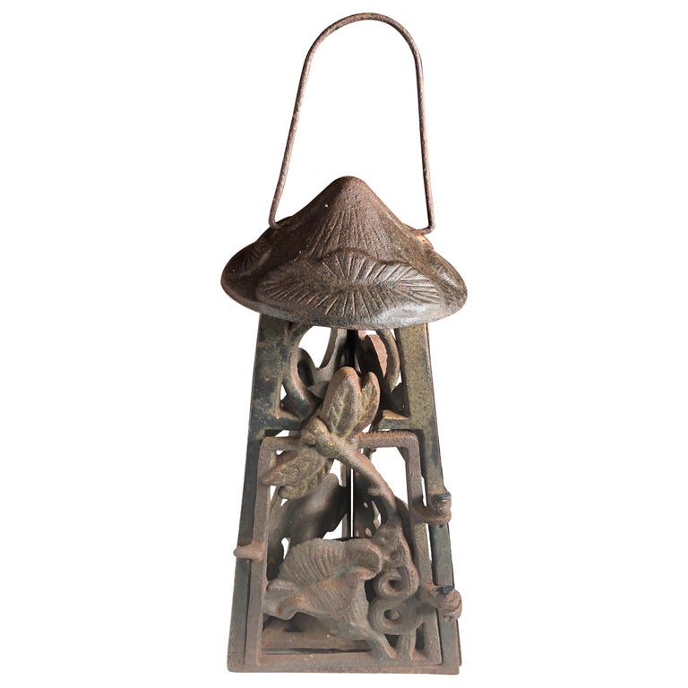 "Japanese Art Nouveau ""Dragonfly & Orchid"" Garden Flower Lantern, Rare Find For Sale"