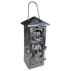 "Japanese Art Nouveau ""Frog & Orchid"" Garden Flower Lantern, Rare Find"