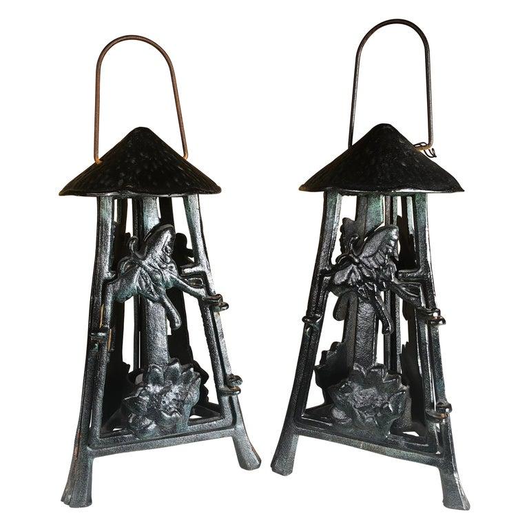 "Japanese Art Nouveau Pair ""Butterfly & Orchid"" Garden Flower Lanterns For Sale"